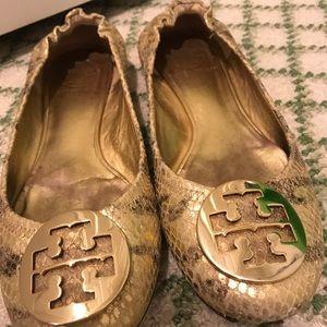 Tory Burch gold croc like flats, size 6.5